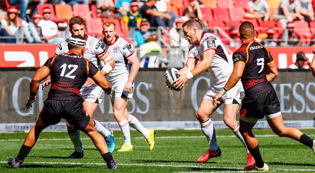 Having a ball: Ulster's Darren Cave on attack against Southern Kings in Port Elizabeth earlier this season