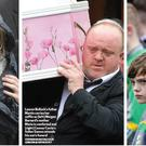 Centre, Lauren Bullock's father carried her coffin as left Morgan Barnard's mother Maria is comforted and right Connor Currie's father Eamonn attends his son's funeral. Pics Stephen Hamilton, Colm Lenaghan and Kevin Scott