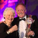 Dame Mary Peters with Olympic bronze medal winning boxer Hugh Russell, who was inducted into Belfast City Councils Sporting Hall of Fame