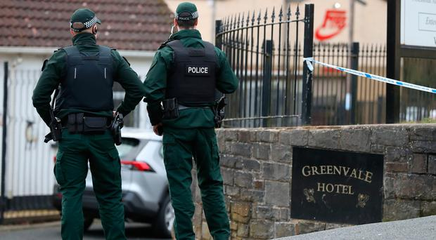 Police outside the Greenvale Hotel in Cookstown, Co. Tyrone in the aftermath of the tragedy. Pic: Liam McBurney/PA Wire