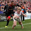 Ulster's Rob Lyttle scores against the Southern Kings (INPHO/Bryan Keane)