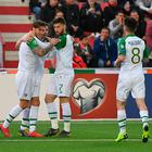 Republic of Ireland's Jeff Hendrick (left) celebrates scoring his side's first goal of the game with team mates during the UEFA Euro 2020 Qualifying, Group D match at the Victoria Stadium, Gibraltar. Pic: Simon Galloway/PA Wire.