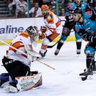 Patrick Dwyer tips in the Belfast Giants' opener against the Sheffield Steelers (William Cherry/Presseye)