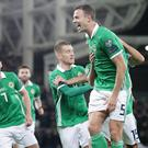 Pacemaker Belfast 24-3-19 Northern Ireland v Belarus - Euro 2020 Qualifier Northern Ireland's Jonny Evans celebrates his goal during this evening's game at the National Stadium, Belfast. Photo by David Maginnis/Pacemaker Press