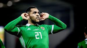 Northern Ireland's Josh Magennis scores the winner during the European Qualifier at Windsor Park in Belfast on March 24th 2019 (Photo by Kevin Scott for Belfast Telegraph)
