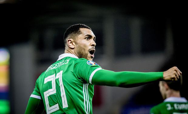 Northern Ireland's Josh Magennis celebrates his 87th minute winner.