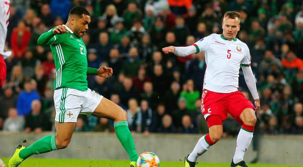 Decisive moment: Josh Magennis pounces for Northern Ireland's winner
