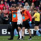 Ulster's Louis Ludik leaves the pitch injured on Saturday.