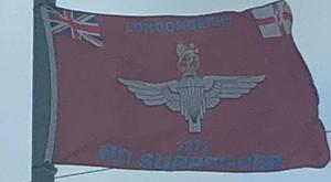 A Parachute Regiment flag erected in Cookstown. Credit: Sinn Fein
