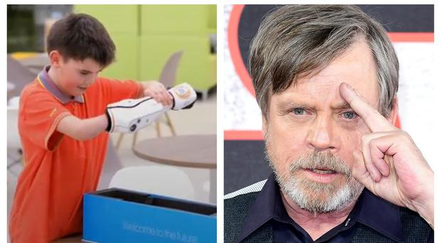 Actor Mark Hamill (right) tweeted the special message to Cameron Millar (left) (Open Bionics/PA)