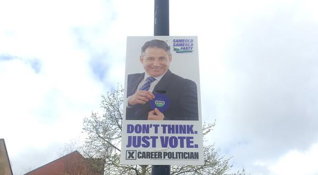 A spoof poster in Belfast city centre. Credit: Alan Meban.