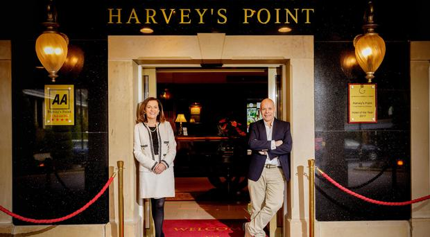 Deirdre McGlone and Marc Gysling at the entrance to Harvey's Point
