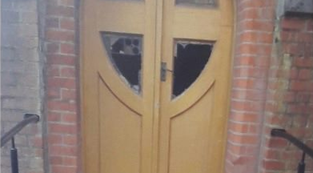 A stained glass window was smashed at the church. Credit: PSNI
