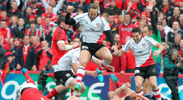Can be done: Ulster's Stefan Terblanche and Ian Humphreys celebrate their win over Munster in 2012