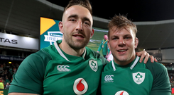 Old pals: Jack Conan and Jordi Murphy with the Lansdowne Cup on Ireland duty