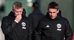 Kieran McKenna (right) and Manchester United's new permanent manager Ole Gunnar Solskjaer.