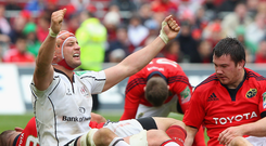 Big relief: Dan Tuohy shows what victory means as Ulster defeat Munster in the Heineken Cup quarter-finals