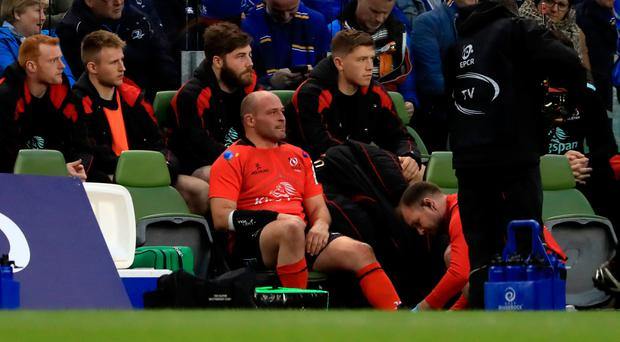 Rory Best after leaving the pitch injured during their Champions Cup quarter final at the Aviva Stadium (Donall Farmer/PA)