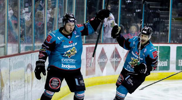 Just champion: Belfast Giants' Darcy Murphy celebrates scoring in the 6-4 win over Dundee Stars
