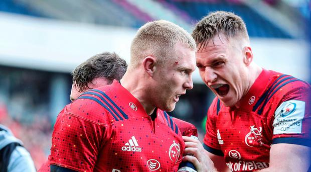 Big win: Keith Earls celebrates his try with Rory Scannell