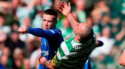 Major flashpoint: Gers ace Ryan Kent lashes out at Celtic's Scott Brown