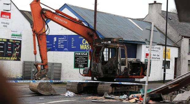 A digger, which had been stolen from a nearby site, was used in the raid at the Nisa shop on Brook Street in Ahoghill.