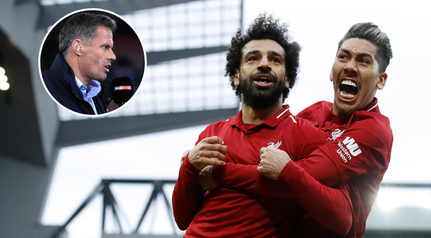 Jamie Carragher (inset) let his emotions pour out of Sky Sports after Mo Salah's header forced a last minute Toby Alderweireld own goal at Anfield.