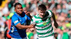 Rangers Alfedo Morelos (left) challenges Celtics Kieran Tierney during the Ladbrokes Scottish Premiership match at Celtic Park, Glasgow. PRESS ASSOCIATION Photo. Picture date: Sunday March 31, 2019. See PA story SOCCER Celtic. Photo credit should read: Andrew Milligan/PA Wire. RESTRICTIONS: EDITORIAL USE ONLY