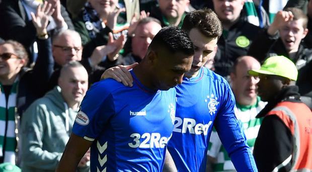 Rangers' Alfredo Morelos leaves the pitch after being shown a red card by referee Bobby Madden during the Ladbrokes Scottish Premiership match at Celtic Park, Glasgow. PRESS ASSOCIATION Photo. Picture date: Sunday March 31, 2019. See PA story SOCCER Celtic. Photo credit should read: Ian Rutherford/PA Wire. RESTRICTIONS: EDITORIAL USE ONLY