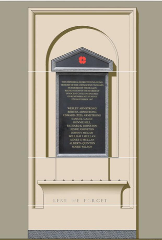 How the Enniskillen Bomb Memorial will look when it is placed on the Clinton Centre.