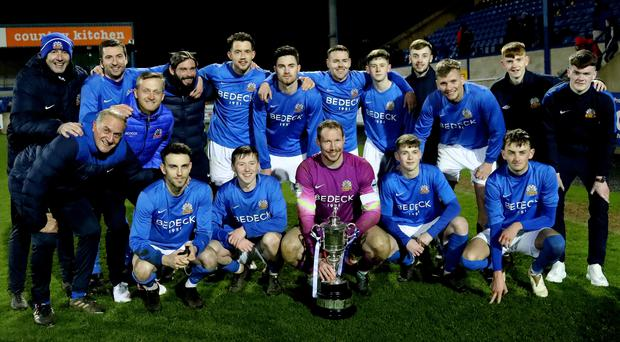Party time: Glenavon celebrate their dramatic Cup win last night