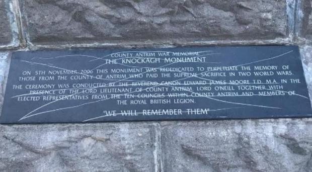 The Knockagh war memorial was attacked over recent days.