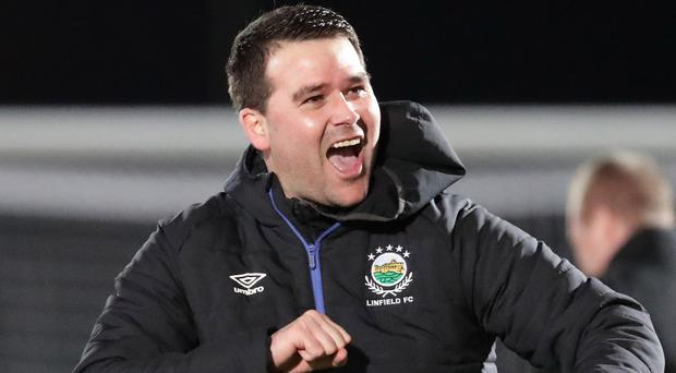 Linfield boss David Healy celebrates his side's 1-0 win over Ballymena United.