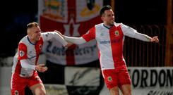 Goal-den boy: Andy Waterworth (right) celebrates his decisive strike with Andy Mitchell