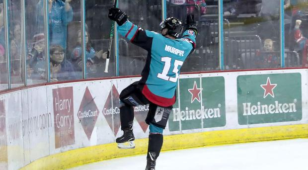 Belfast Giants' Darcy Murphy celebrates scoring against Coventry Blaze (William Cherry/Presseye)