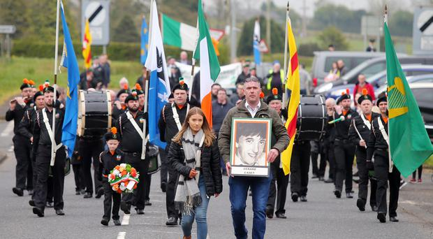 Parade in Rasharkin, Co. Antrim, to commemorate the murder of IRA man Gerard Casey. Picture by Jonathan Porter/PressEye