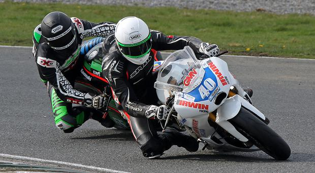 Ross Irwin in action on his way to a Supertwin double at Mondello Park