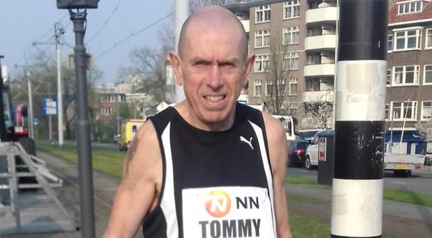 Tommy Hughes ready to run what turned out to be a world record time in Rotterdam.