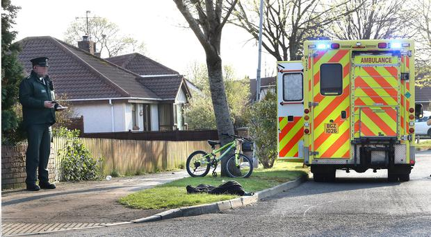 Scene of a crash involving a young boy who was knocked off his bicycle by a vehicle in Limavady, on Monday afternoon. The boy was airlifted to hospital. Picture Margaret McLaughlin 8-4-2019