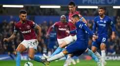 Standout man: Eden Hazard scores his first for Chelsea against West Ham last night