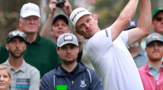 Feel-good factor: World number one Justin Rose shapes up for his Masters bid at Augusta yesterday