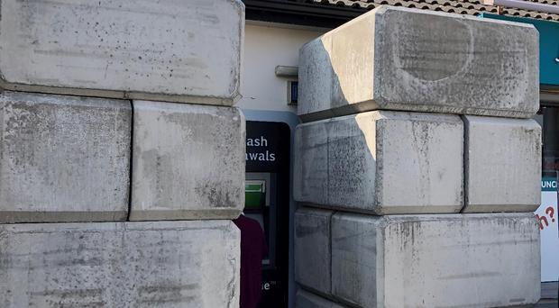 An ATM in Maghera is being protected by concrete blocks. Credit: Brendan Marshall