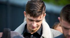 Footballer Jay Donnelly arriving at Laganside Court in Belfast. Photo credit: Liam McBurney/PA Wire