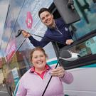 Royal Portrush Golf Club assistant professionals Charlene Reid and Tom Minshull launch Translink's special transport plan for The 148th Open at Royal Portrush Golf Club. Photo by Aaron McCracken
