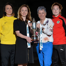 Big kick-off: Attending the launch of the Danske Bank Women's Premiership at Windsor Park last night are Julie Nelson (Crusaders), Emma Higgins (Glentoran), Laura Clarke (Comber Rec), Marissa Callaghan (Cliftonville), Kirsty McGuinness, (Linfield), Claragh Connor (Sion Swifts) and Bronagh McGuinness (Derry City) along with Sue O'Neill, chair of NIFL women's Premiership committee and Vicky Davies of Danske Bank