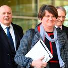 Arlene Foster, Iain Duncan Smith and Owen Paterson leaving the European Commission following a meeting with Michel Barnier to discuss Brexit. Photo credit: Stefan Rousseau/PA Wire