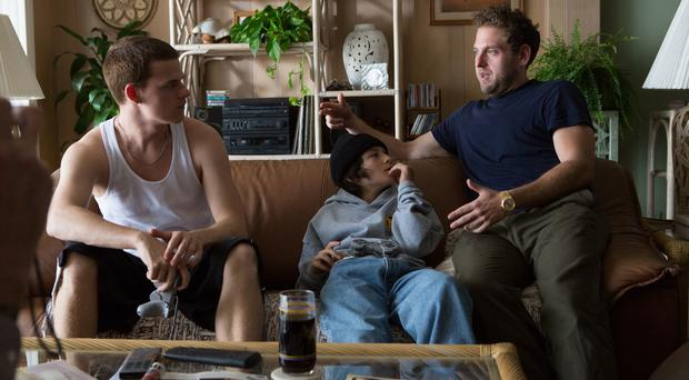 New role: (from left) Lucas Hedges, Sunny Suljic and director Jonah Hill on the set of Mid90s