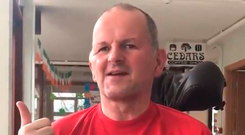 Sean Cox raises his thumb and says thanks in a short video to supporters