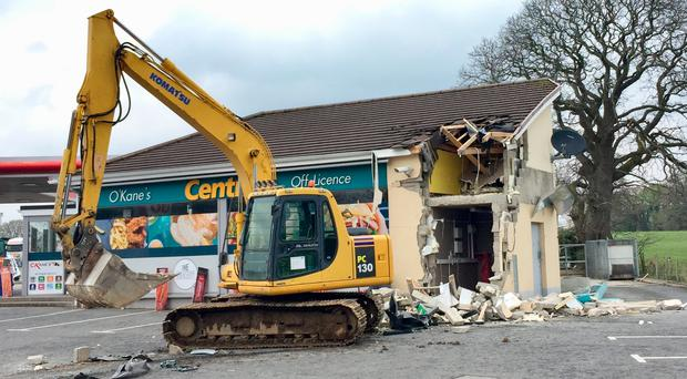 The scene in Dungiven after a cash machine was ripped from a wall and stolen