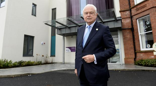 Support: Sir Martyn Lewis outside the NI Hospice